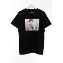 Fashion Cartoon Comic Character Printed Round Neck Short Sleeve Cotton Casual Tee