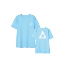 Kpop Boy Band Fashion Triangle Letter Print Short Sleeve Summer Unisex Tee
