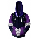 New Stylish Comic Cosplay Costume Long Sleeve Purple Zip Up Relaxed Hoodie