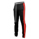 Men's Popular Fashion Colorblock Patched Side Contrast Striped Drawstring Waist Casual Sports Sweatpants