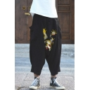 Trendy Chinese Stylish Dragon Embroidery Pattern Men's Black Baggy Drop-Crotch Harem Pants with Side Pockets