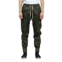 Men's New Fashion Solid Color Zipped Pocket Drawstring Waist Trendy Sports Cargo Pants