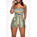 Summer Hot Trendy Strapless Sleeveless Striped Printed Tie Waist Sexy Bandeau Rompers