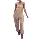 Womens Plain Strapless Sleeveless Zip Front Wide Leg Night Club Jumpsuits