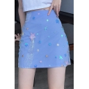 Womens Chic Blue High Waist Sequin Embellished Slim Fitted Mini A-Line Skirt