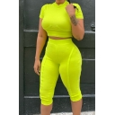 Short Sleeve Cropped T Shirt with High Waist Stretch Skinny Fit Shorts Green Rib Two-Piece Set