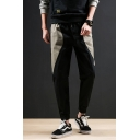 Men's Popular Fashion Colorblock Patched Drawstring Waist Elastic Cuffs Relaxed Fit Casual Tapered Pants