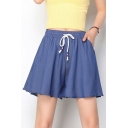 Womens Plain Drawstring Waist Casual Loose Mini Flared Tencel Denim Skirt