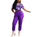 Short Sleeve Camo T Shirt with Elastic Waist Pants Purple Street Style Leisure Co-ords