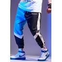 Hot Fashion Colorblock Letter Printed Drawstring Waist Loose Fit Hip Pop Trendy Track Pants for Guys