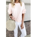 Womens Summer Simple Plain Round Neck Ruffled Sleeve Knotted T-Shirt