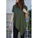 Summer New Arrival Short Sleeve Round Neck Asymmetric Hem Casual Loose Plain T Shirt