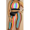 Womens Trendy Rainbow Stripe Printed Scoop Neck Crop Tank with Skinny Half Shorts Two-Piece Set