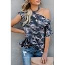 Summer New Arrival Halter Neck One Shoulder Loose Camo T Shirt for Women