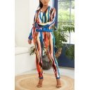 Womens Trendy Colorful Stripe Printed Long Sleeve Zip Up Jacket with Slim Fit Pants Two-Piece Set