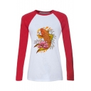 Woemns Fashion Fish Pattern Round Neck Raglan Long Sleeve Color Block Fitted T-Shirt