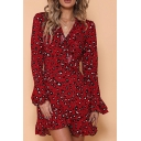Womens Trendy Red Leopard Printed V-Neck Long Sleeve Mini Ruffled Dress