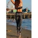 Womens Black Stripe Printed Sport Athletic Yoga Leggings Pants