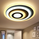 Ultra Thin Circular Flush Mount Minimalist Metallic LED Lighting Fixture in Matte White for Restaurant