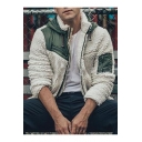 Mens New Fashion Colorblock Print Zip Up Polar Fleece Hooded White Sweatshirt Jacket
