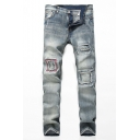 Men's Popular Fashion Contrast Embroidery Patch Slim Fit Vintage Ripped Jeans
