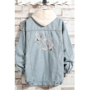 New Stylish Ukiyo-e Crane Embroidery Print Back Long Sleeve Light Blue Denim Jacket for Guys
