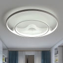 White Dual Ring Flushmount Modernism Acrylic Surface Mount LED Light in Neutral for Bedroom