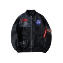 Mens Cool Letter Logo Patched Stand Collar Long Sleeve Zip Up Bomber Jacket