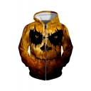Hot Fashion Halloween Skull Printed Long Sleeve Loose Fit Yellow Casual Zip Up Hoodie
