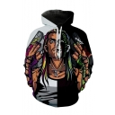 New Fashion Colorblock Cool Man Printed Grey and Black Long Sleeve Casual Loose Hoodie
