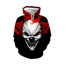 Popular Fashion Evil Clown 3D Printed Black and Red Long Sleeve Casual Loose Drawstring Hoodie