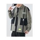 Mens Unique Simple Letter Colorblock Lapel Collar Long Sleeve Work Jacket