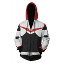 3D Printed Long Sleeve Black and White Loose Fitted Zip Up Drawstring Hoodie