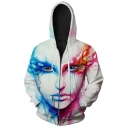 Cool 3D Blood Figure Face Printed White Long Sleeve Zip Up Sport Fitted Hoodie
