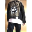 Hot Popular Comic Letter OFF Printed Ripped Long Sleeve Button Down Lapel Collar Black Denim Jacket Coat