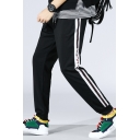 Mens Popular Contrast Stripe Side Letter Printed Drawstring Waist Casual Sports Track Pants