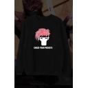Check Your Pockets Comic Figure Printed Crewneck Long Sleeve Pullover Black Sweatshirt