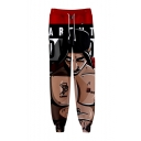 Hot Popular Famous Rapper 3D Printed Drawstring Waist Red Casual Sports Sweatpants