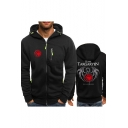 Fire and Blood Dragon Logo Printed Long Sleeve Regular Fitted Zip Up Hoodie