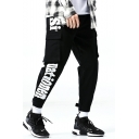 New Arrival Stylish Letter Printed Double Flap Pocket Side Gathered Cuffs Mens Trendy Casual Cargo Pants