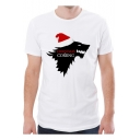 Christmas Is Coming Wolf Printed White Short Sleeve T-Shirt