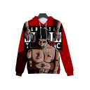 New Stylish Red Unique 3D Muscle Figure Printed Loose Fit Unisex Hoodie