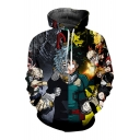 Comic Figure 3D Printing Long Sleeve Black Loose Fit Drawstring Hoodie