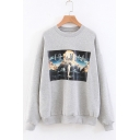 Simple Letter Print Long Sleeve Round Neck Grey Pullover Sweatshirt