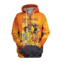 The Lion King 3D Printed Drawstring Hooded Long Sleeve Loose Fit Casual Zip Up Hoodie