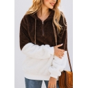 New Fashion Color Block Pattern Half-Zip Long Sleeve Fluffy Teddy Hoodie