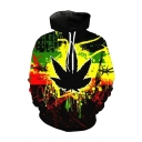 Hot Fashion Spray Paint Hemp Leaf 3D Printed Long Sleeve Black and Yellow Casual Loose Drawstring Hoodie