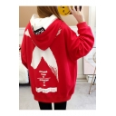 Simple Color Block Letter Printed Long Sleeves Pullover Oversized Long Hoodie