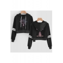 New Trendy Kpop Logo Love Yourself Stripe Long Sleeve Sport Crop Hoodie