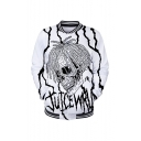 New Trendy Figure 3D Printed Rib Stand Collar Long Sleeve Button Down White Baseball Jacket